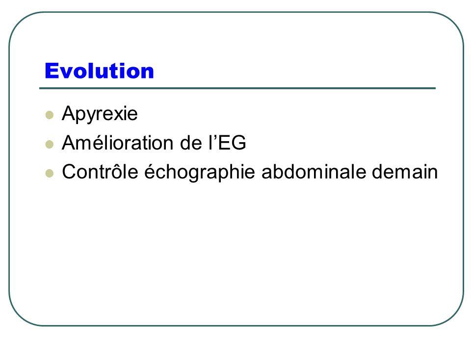 Evolution Apyrexie Amélioration de l'EG Contrôle échographie abdominale demain