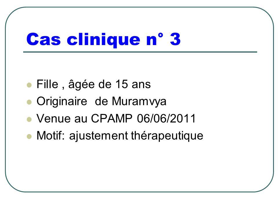 Fille, âgée de 15 ans Originaire de Muramvya Venue au CPAMP 06/06/2011 Motif: ajustement thérapeutique