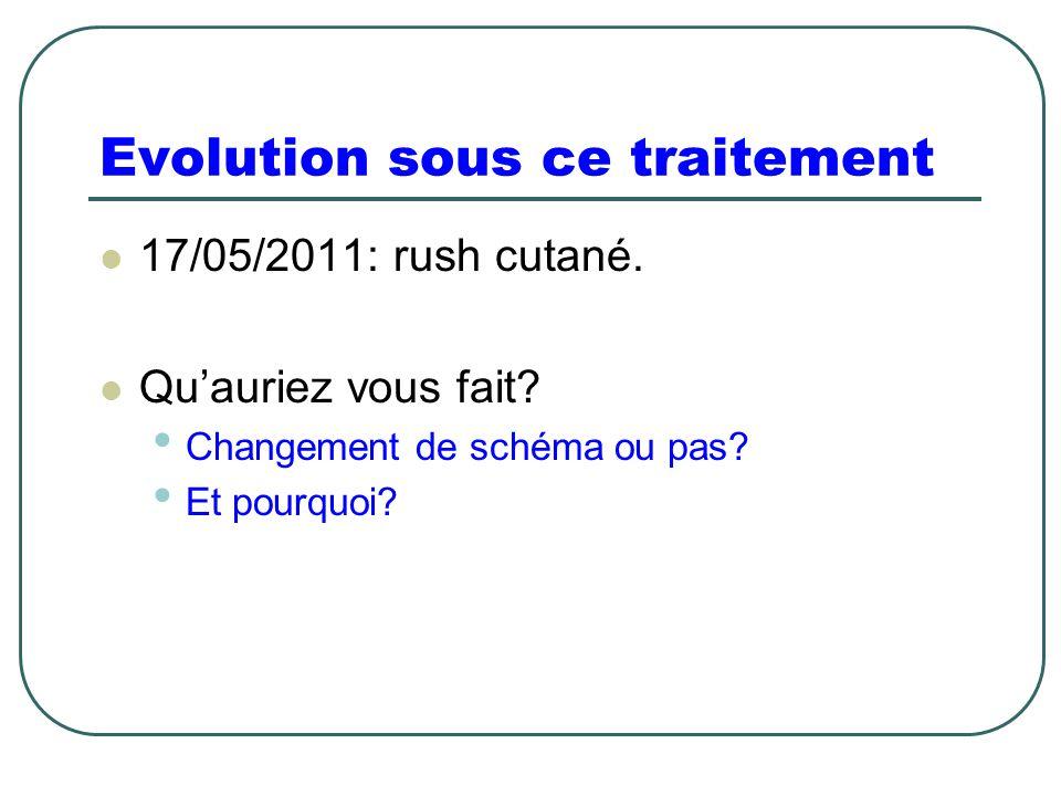 Evolution sous ce traitement 17/05/2011: rush cutané. Qu'auriez vous fait? Changement de schéma ou pas? Et pourquoi?