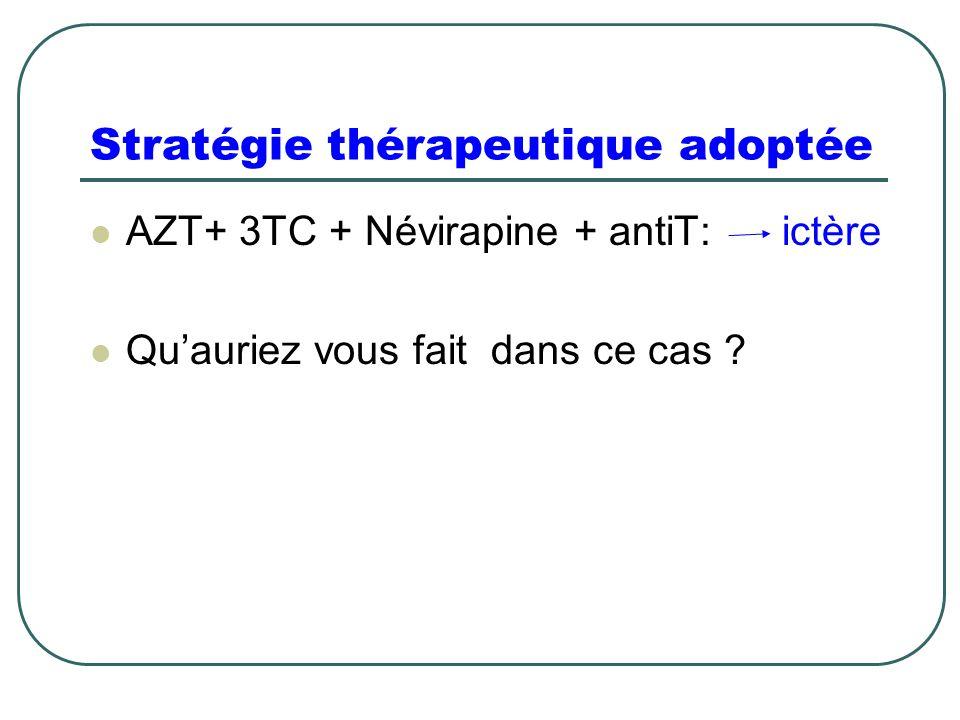 Stratégie thérapeutique adoptée AZT+ 3TC + Névirapine + antiT: ictère Qu'auriez vous fait dans ce cas