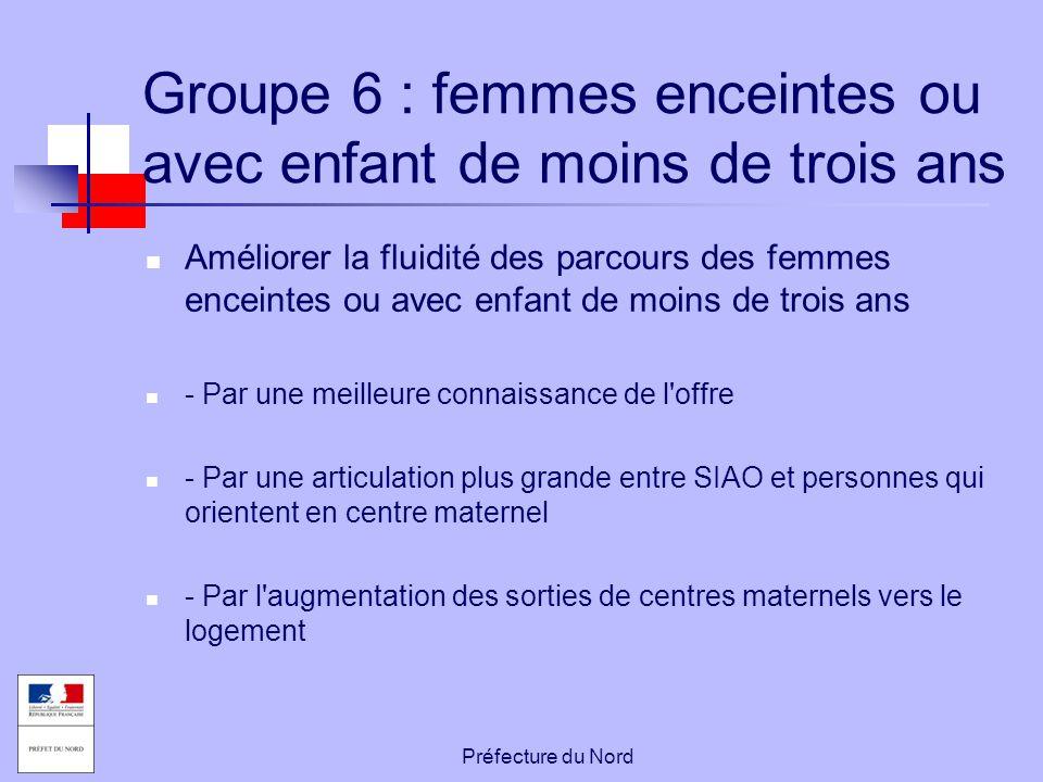 Préfecture du Nord Groupe 6 : femmes enceintes ou avec enfant de moins de trois ans Améliorer la fluidité des parcours des femmes enceintes ou avec en