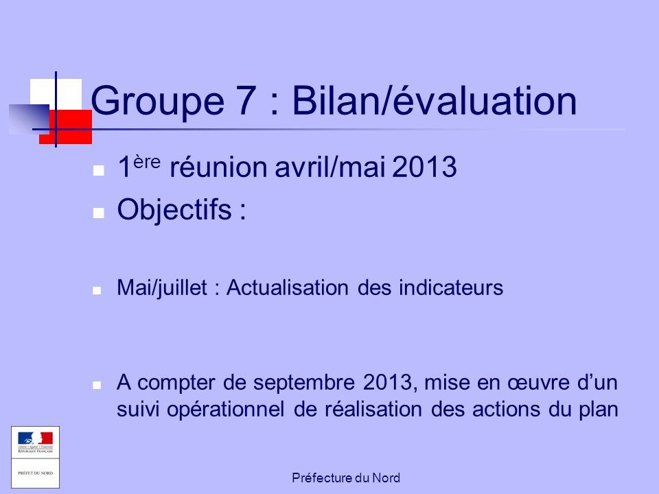 Préfecture du Nord Groupe 7 : Bilan/évaluation 1 ère réunion avril/mai 2013 Objectifs : Mai/juillet : Actualisation des indicateurs A compter de septe