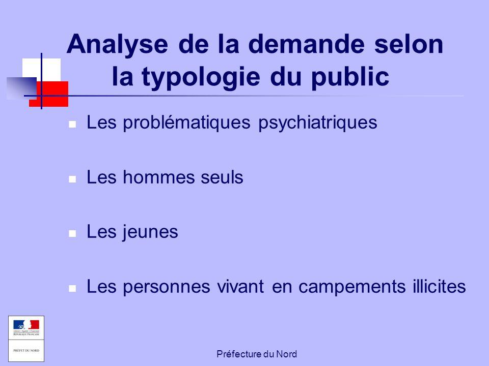 Préfecture du Nord Analyse de la demande selon la typologie du public Les problématiques psychiatriques Les hommes seuls Les jeunes Les personnes viva