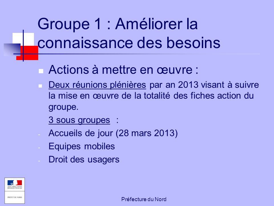 Préfecture du Nord Groupe 1 : Améliorer la connaissance des besoins Actions à mettre en œuvre : Deux réunions plénières par an 2013 visant à suivre la