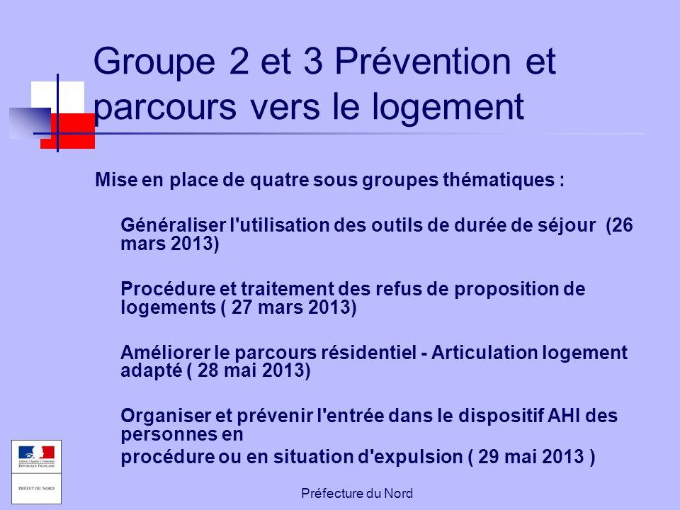 Préfecture du Nord Groupe 2 et 3 Prévention et parcours vers le logement Mise en place de quatre sous groupes thématiques : Généraliser l'utilisation