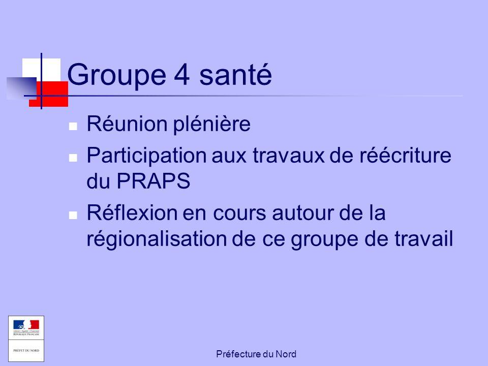 Préfecture du Nord Groupe 4 santé Réunion plénière Participation aux travaux de réécriture du PRAPS Réflexion en cours autour de la régionalisation de