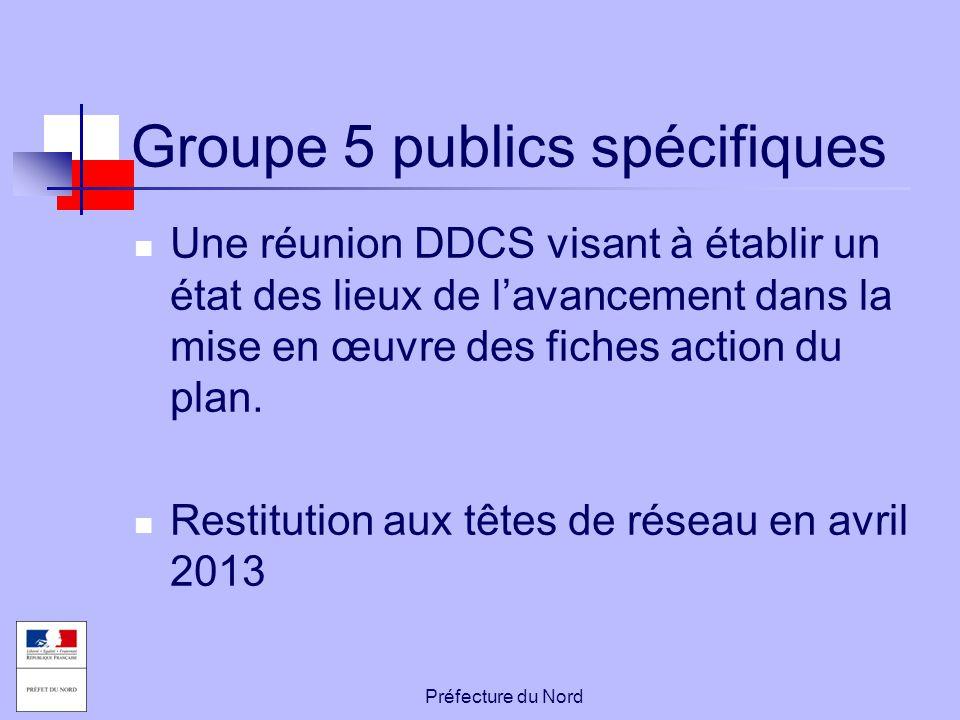 Préfecture du Nord Groupe 5 publics spécifiques Une réunion DDCS visant à établir un état des lieux de l'avancement dans la mise en œuvre des fiches a