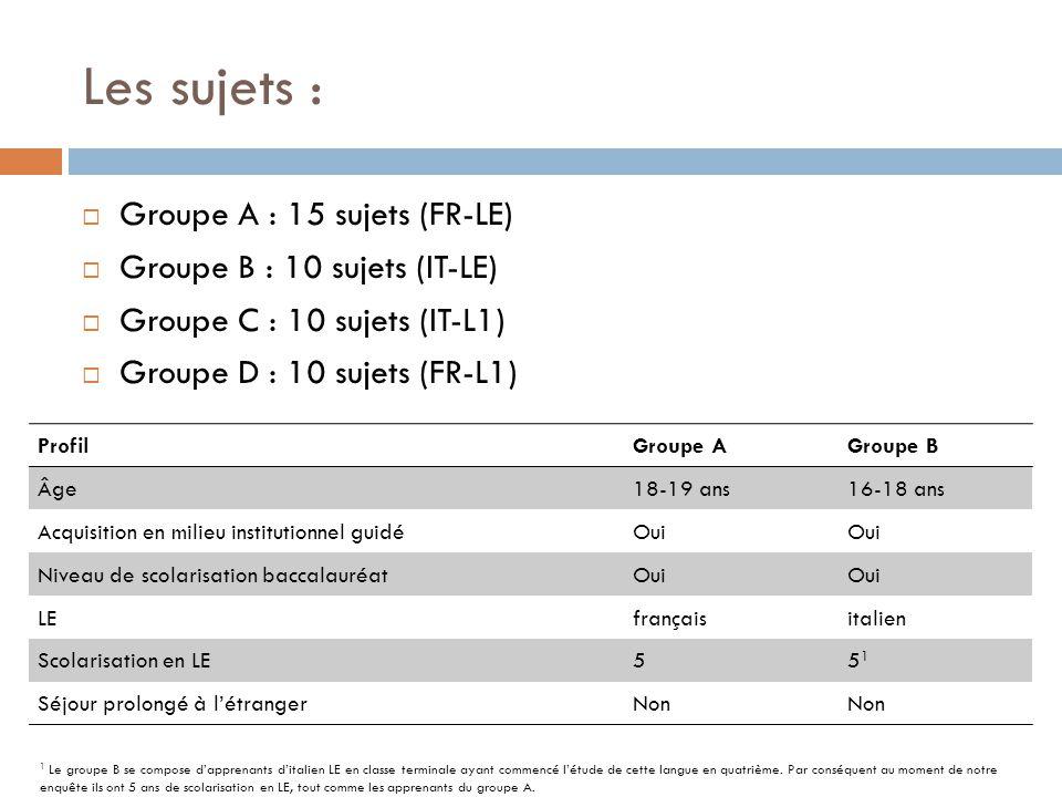 Les sujets :  Groupe A : 15 sujets (FR-LE)  Groupe B : 10 sujets (IT-LE)  Groupe C : 10 sujets (IT-L1)  Groupe D : 10 sujets (FR-L1) ProfilGroupe