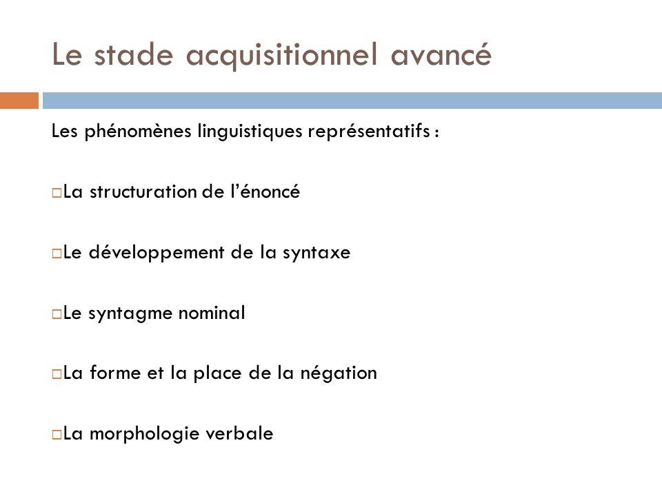Le stade acquisitionnel avancé Les phénomènes linguistiques représentatifs :  La structuration de l'énoncé  Le développement de la syntaxe  Le synt