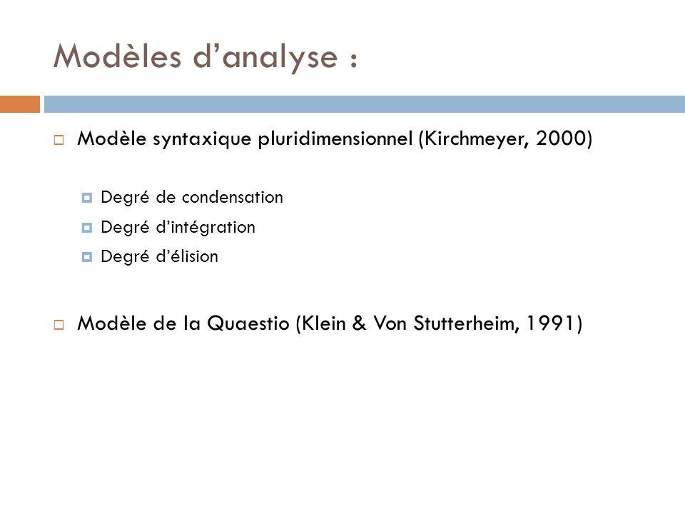 Modèles d'analyse :  Modèle syntaxique pluridimensionnel (Kirchmeyer, 2000)  Degré de condensation  Degré d'intégration  Degré d'élision  Modèle