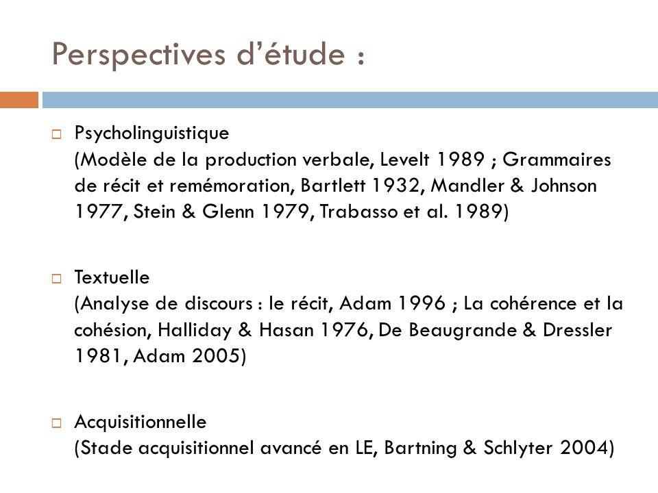 Perspectives d'étude :  Psycholinguistique (Modèle de la production verbale, Levelt 1989 ; Grammaires de récit et remémoration, Bartlett 1932, Mandle