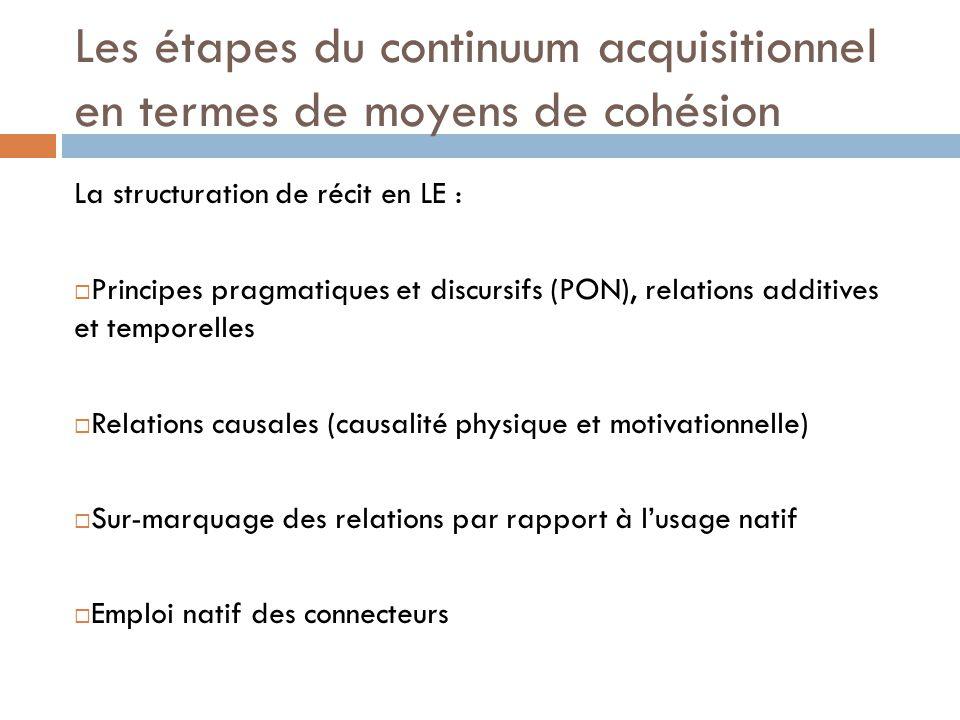 Les étapes du continuum acquisitionnel en termes de moyens de cohésion La structuration de récit en LE :  Principes pragmatiques et discursifs (PON),