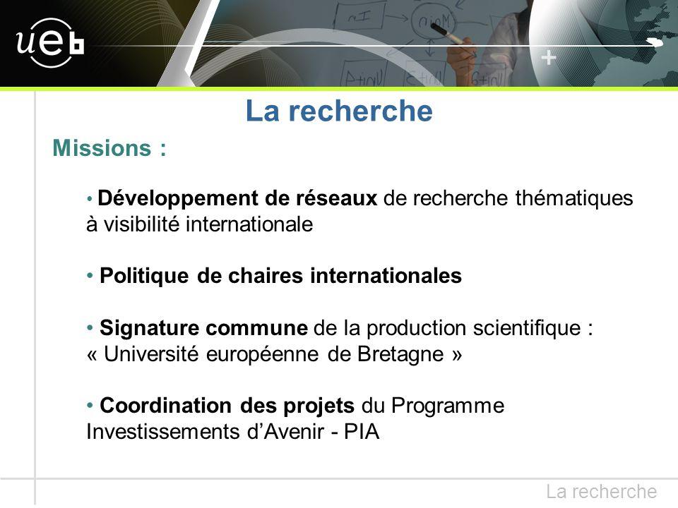 Missions : Développement de réseaux de recherche thématiques à visibilité internationale Politique de chaires internationales Signature commune de la production scientifique : « Université européenne de Bretagne » Coordination des projets du Programme Investissements d'Avenir - PIA La recherche