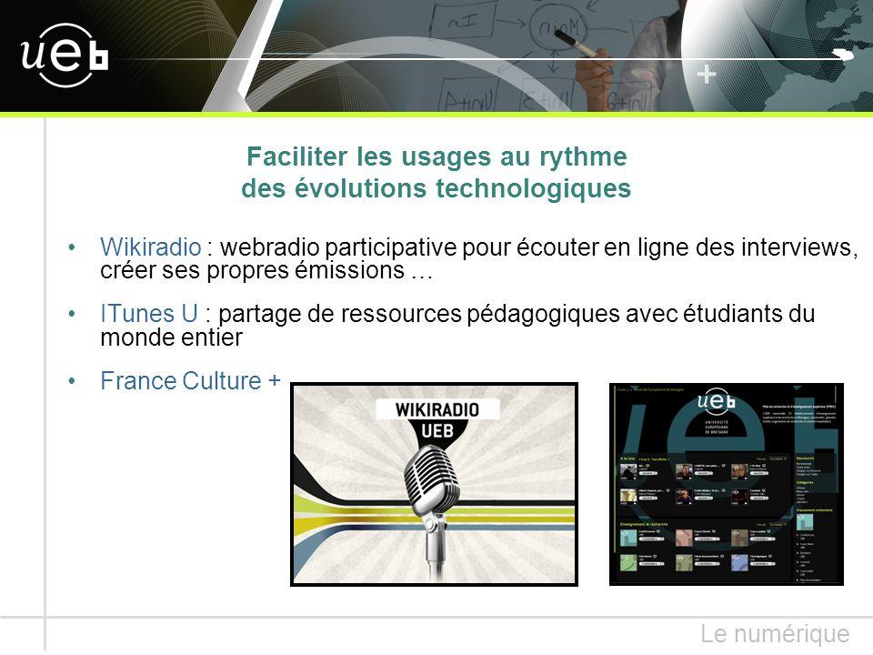 Wikiradio : webradio participative pour écouter en ligne des interviews, créer ses propres émissions … ITunes U : partage de ressources pédagogiques avec étudiants du monde entier France Culture + Le numérique Faciliter les usages au rythme des évolutions technologiques