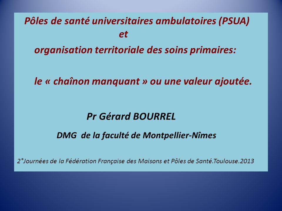 La notion de PSUA 2 colloques « Grand sud » à la faculté de Montpellier en 2010 et 2011 sur l'universitarisation des pôles de santé.