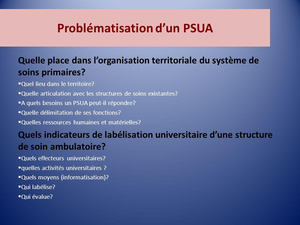 Problématisation d'un PSUA Quelle place dans l'organisation territoriale du système de soins primaires.
