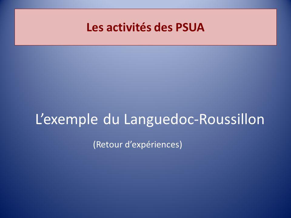 Les activités des PSUA L'exemple du Languedoc-Roussillon (Retour d'expériences)