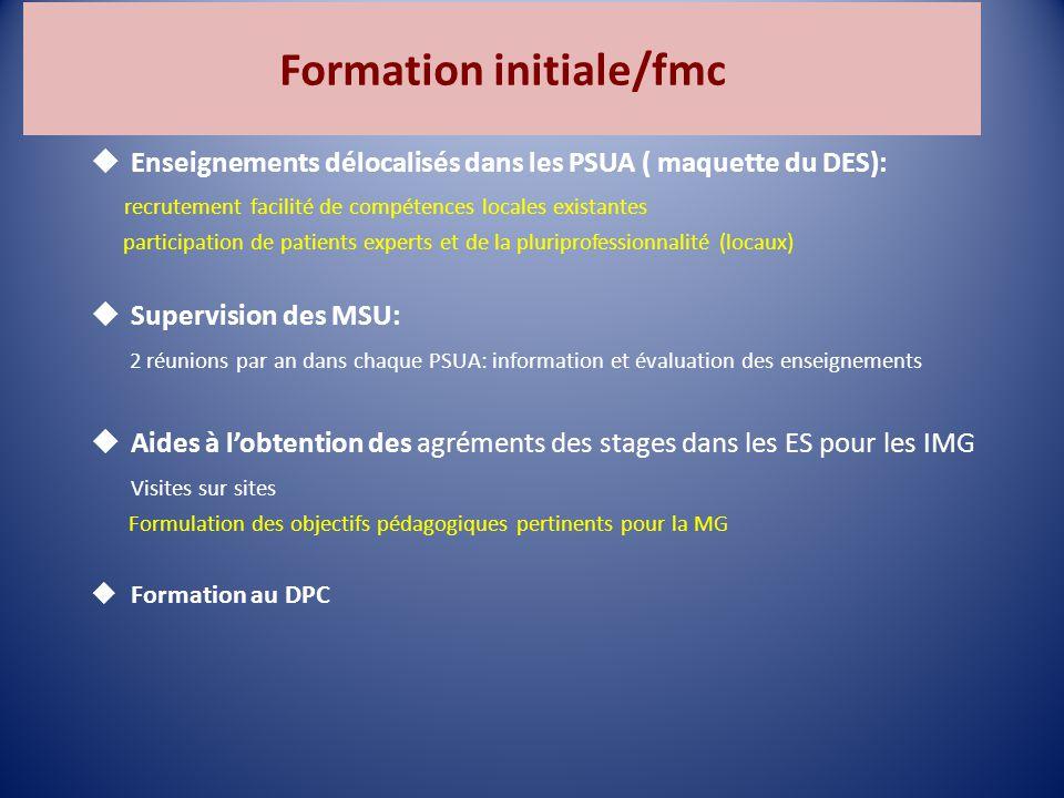 Formation initiale/fmc  Enseignements délocalisés dans les PSUA ( maquette du DES): recrutement facilité de compétences locales existantes participation de patients experts et de la pluriprofessionnalité (locaux)  Supervision des MSU: 2 réunions par an dans chaque PSUA: information et évaluation des enseignements  Aides à l'obtention des agréments des stages dans les ES pour les IMG Visites sur sites Formulation des objectifs pédagogiques pertinents pour la MG  Formation au DPC