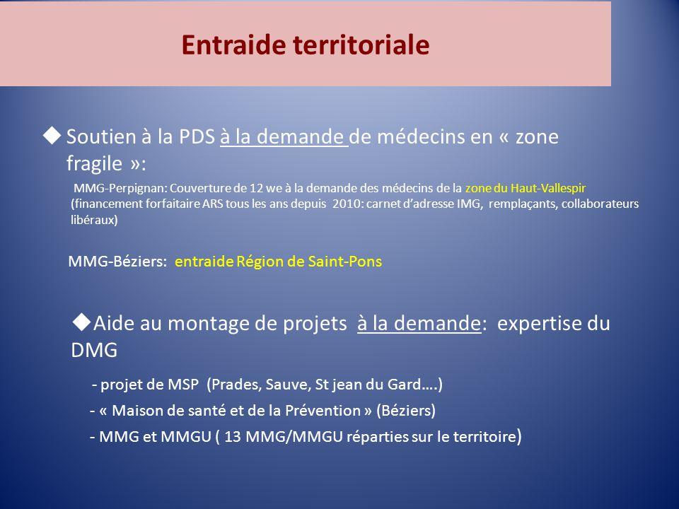 Entraide territoriale  Soutien à la PDS à la demande de médecins en « zone fragile »: MMG-Perpignan: Couverture de 12 we à la demande des médecins de la zone du Haut-Vallespir (financement forfaitaire ARS tous les ans depuis 2010: carnet d'adresse IMG, remplaçants, collaborateurs libéraux) MMG-Béziers: entraide Région de Saint-Pons  Aide au montage de projets à la demande: expertise du DMG - projet de MSP (Prades, Sauve, St jean du Gard….) - « Maison de santé et de la Prévention » (Béziers) - MMG et MMGU ( 13 MMG/MMGU réparties sur le territoire )