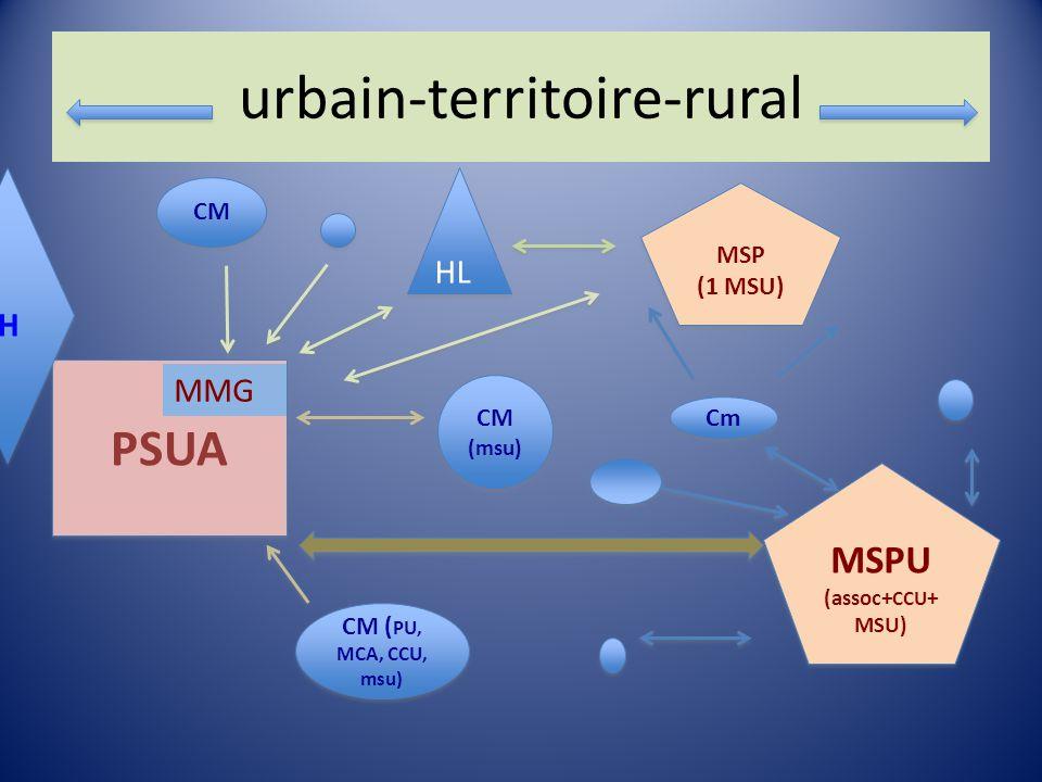 urbain-territoire-rural MMG (Img/ccu) MMG (Img/ccu) PSUA MSPU (assoc+ CCU + MSU) MSPU (assoc+ CCU + MSU) CM CM ( PU, MCA, CCU, msu) Cm CM (msu) MSP (1 MSU) MSP (1 MSU) CH MMG HL