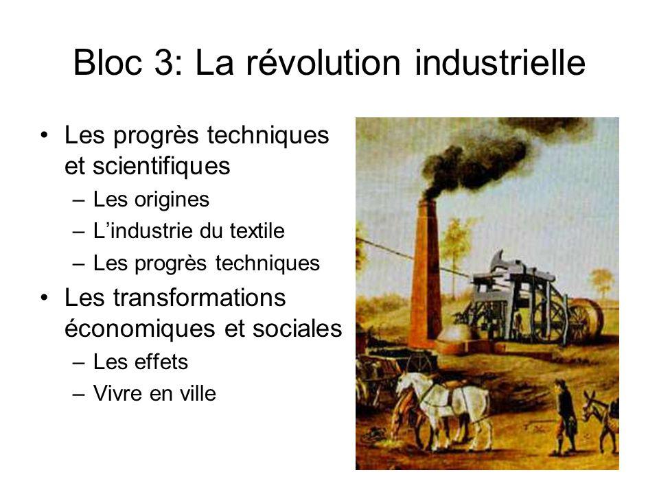 Bloc 3: La révolution industrielle Les progrès techniques et scientifiques –Les origines –L'industrie du textile –Les progrès techniques Les transform