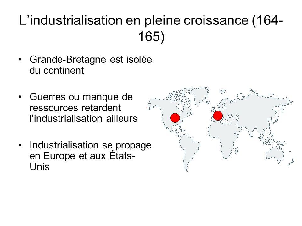 L'industrialisation en pleine croissance (164- 165) Grande-Bretagne est isolée du continent Guerres ou manque de ressources retardent l'industrialisat
