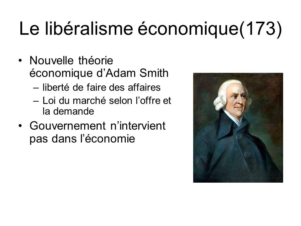 Le libéralisme économique(173) Nouvelle théorie économique d'Adam Smith –liberté de faire des affaires –Loi du marché selon l'offre et la demande Gouv
