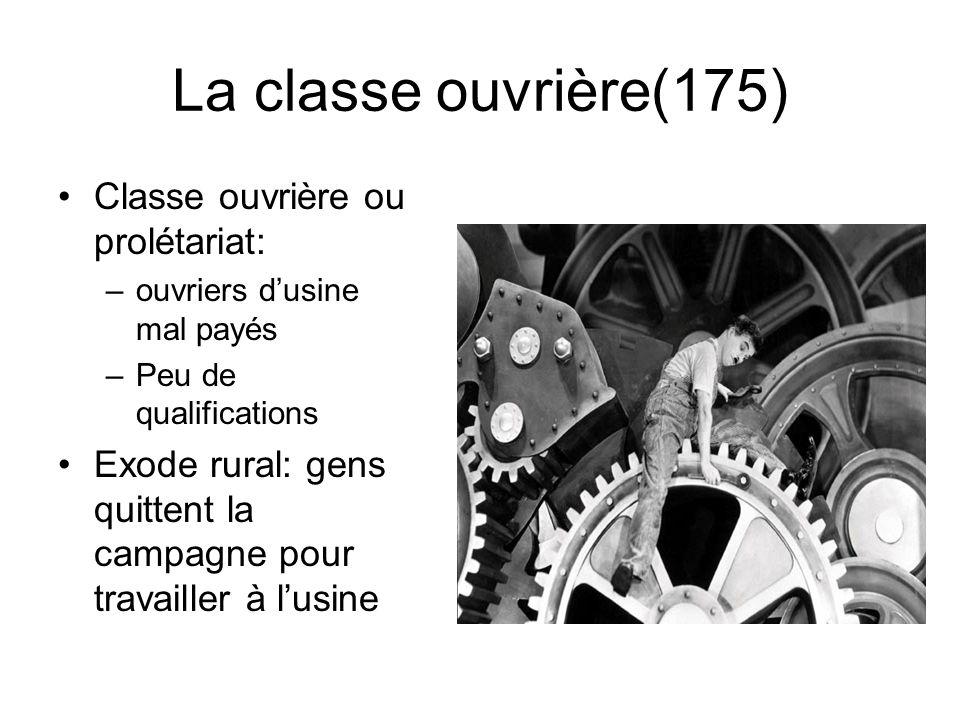La classe ouvrière(175) Classe ouvrière ou prolétariat: –ouvriers d'usine mal payés –Peu de qualifications Exode rural: gens quittent la campagne pour