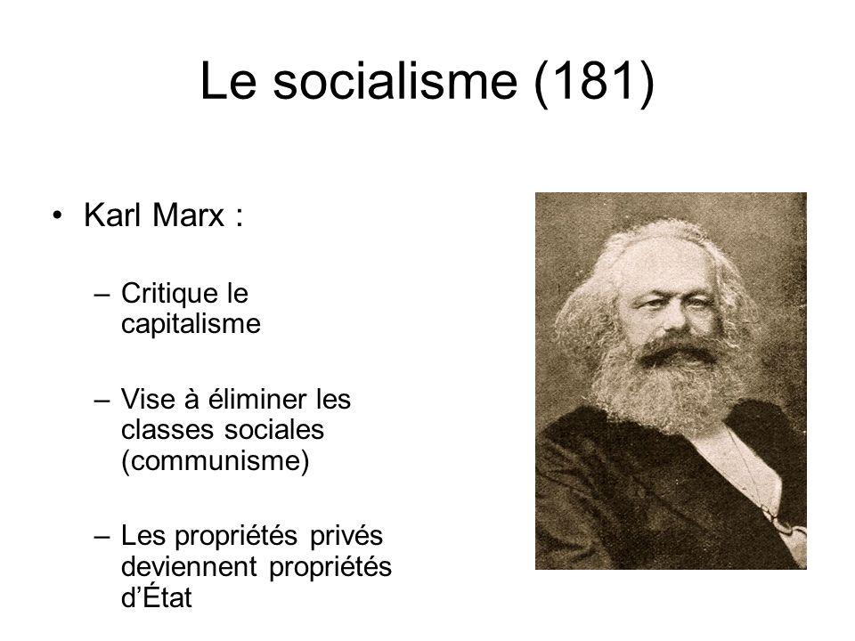 Le socialisme (181) Karl Marx : –Critique le capitalisme –Vise à éliminer les classes sociales (communisme) –Les propriétés privés deviennent propriét