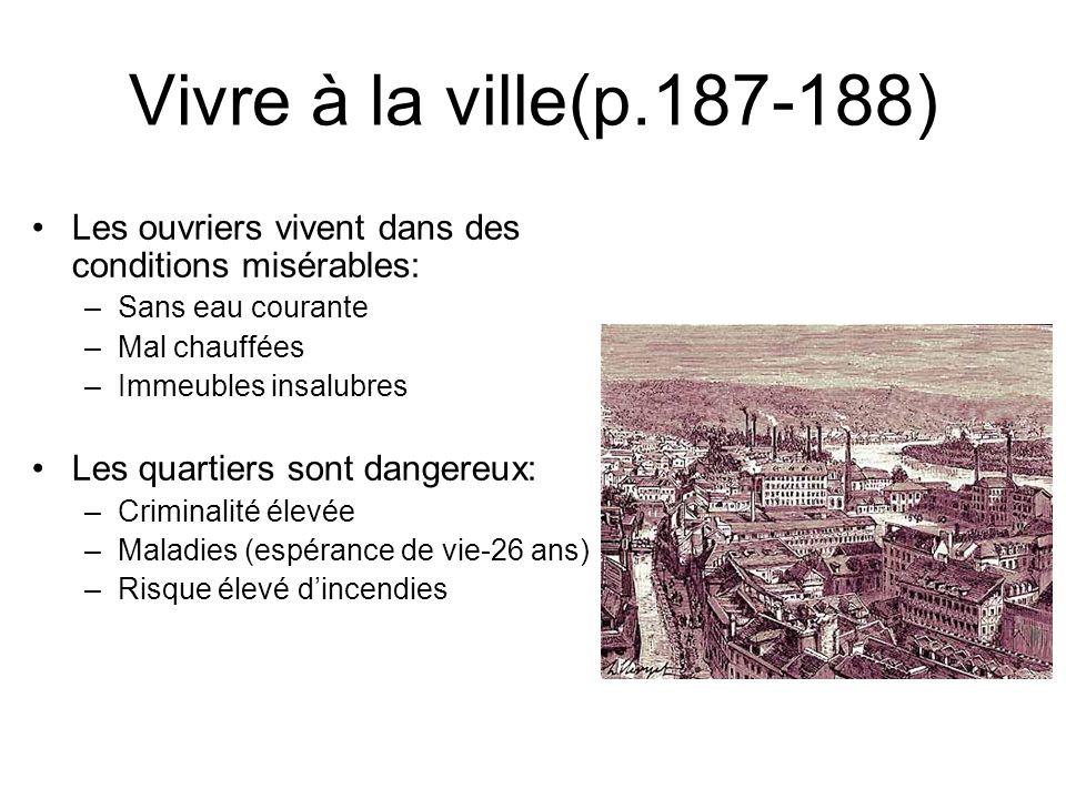 Vivre à la ville(p.187-188) Les ouvriers vivent dans des conditions misérables: –Sans eau courante –Mal chauffées –Immeubles insalubres Les quartiers