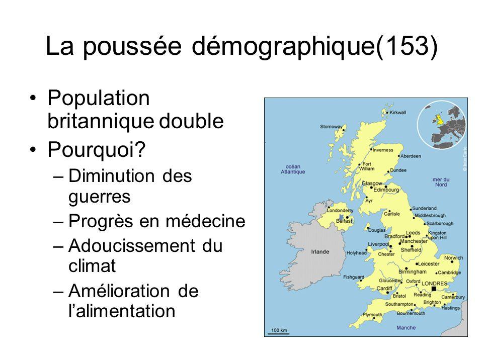 La poussée démographique(153) Population britannique double Pourquoi? –Diminution des guerres –Progrès en médecine –Adoucissement du climat –Améliorat