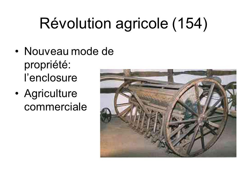 Révolution agricole (154) Nouveau mode de propriété: l'enclosure Agriculture commerciale