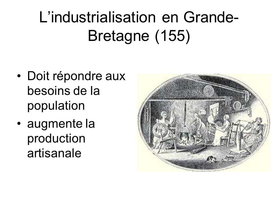 L'industrialisation en Grande- Bretagne (155) Doit répondre aux besoins de la population augmente la production artisanale