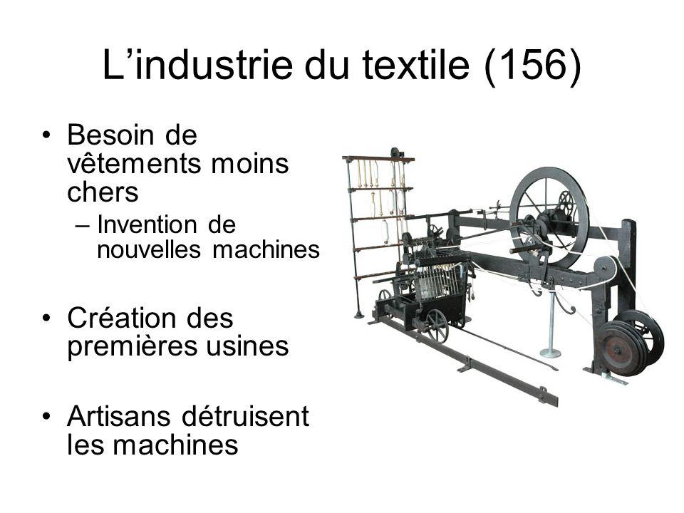 L'industrie du textile (156) Besoin de vêtements moins chers –Invention de nouvelles machines Création des premières usines Artisans détruisent les ma