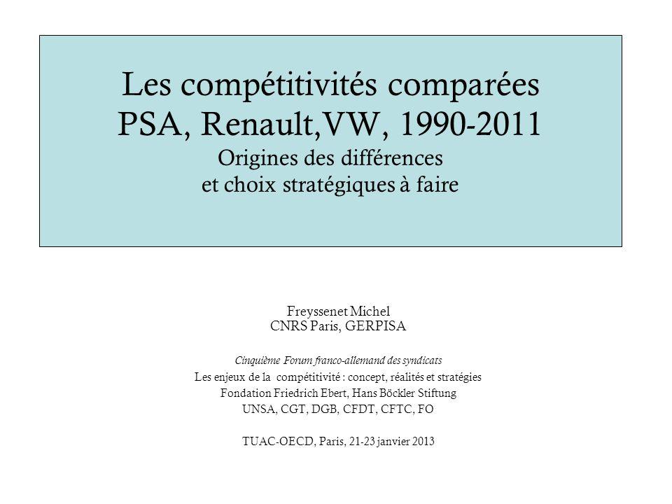 Les compétitivités comparées PSA, Renault,VW, 1990-2011 Origines des différences et choix stratégiques à faire Freyssenet Michel CNRS Paris, GERPISA C