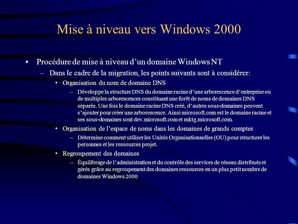 Mise à niveau vers Windows 2000 Procédure de mise à niveau d'un domaine Windows NT –Dans le cadre de la migration, les points suivants sont à considér