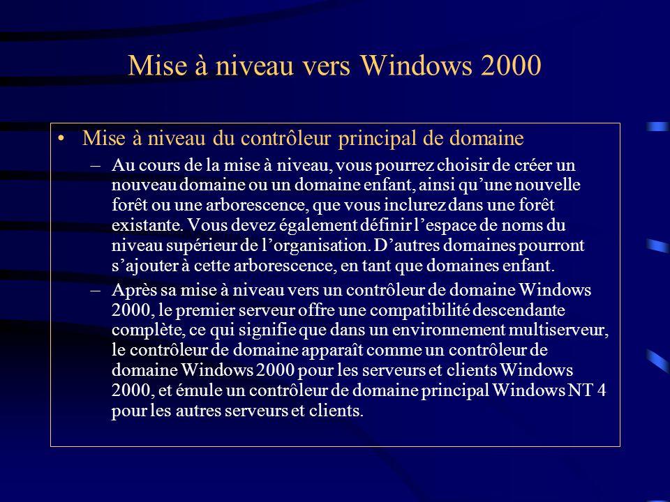 Mise à niveau vers Windows 2000 Mise à niveau du contrôleur principal de domaine –Au cours de la mise à niveau, vous pourrez choisir de créer un nouve