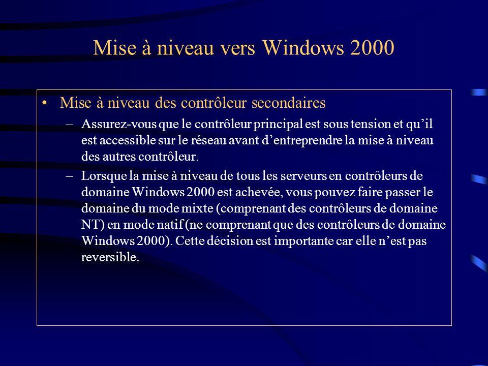 Mise à niveau vers Windows 2000 Mise à niveau des contrôleur secondaires –Assurez-vous que le contrôleur principal est sous tension et qu'il est acces