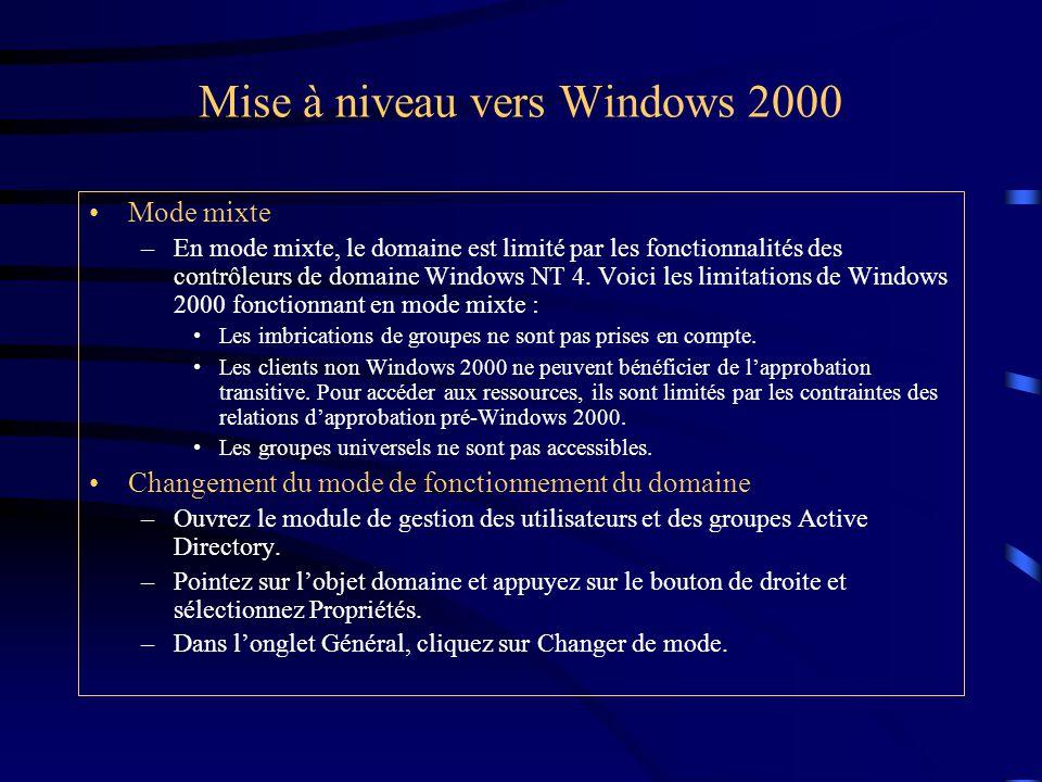 Mise à niveau vers Windows 2000 Mode mixte –En mode mixte, le domaine est limité par les fonctionnalités des contrôleurs de domaine Windows NT 4. Voic