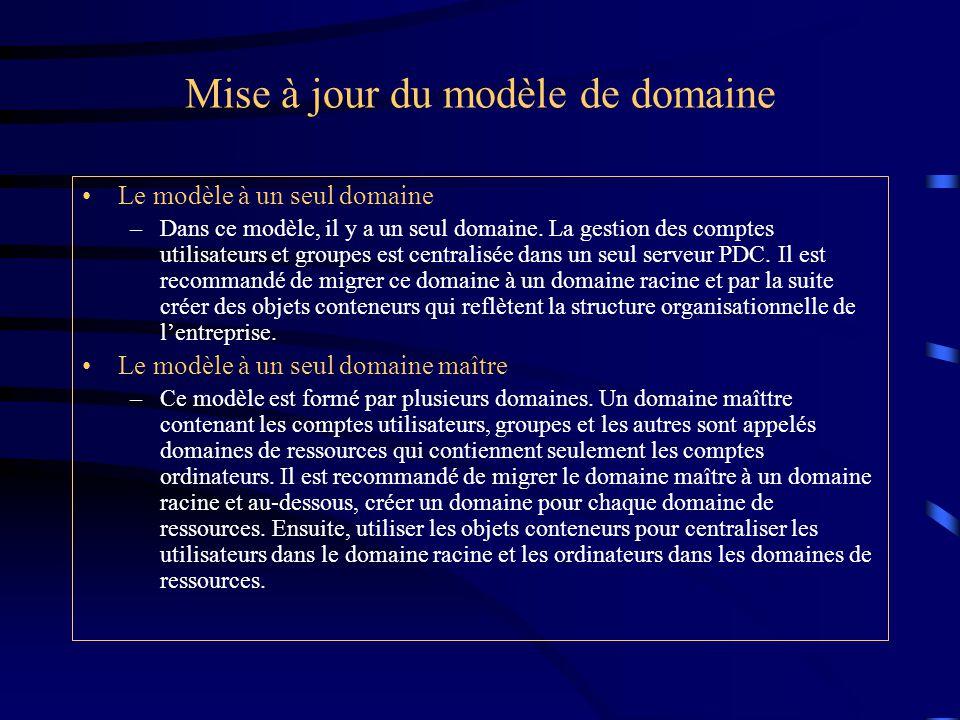 Mise à jour du modèle de domaine Le modèle à un seul domaine –Dans ce modèle, il y a un seul domaine. La gestion des comptes utilisateurs et groupes e
