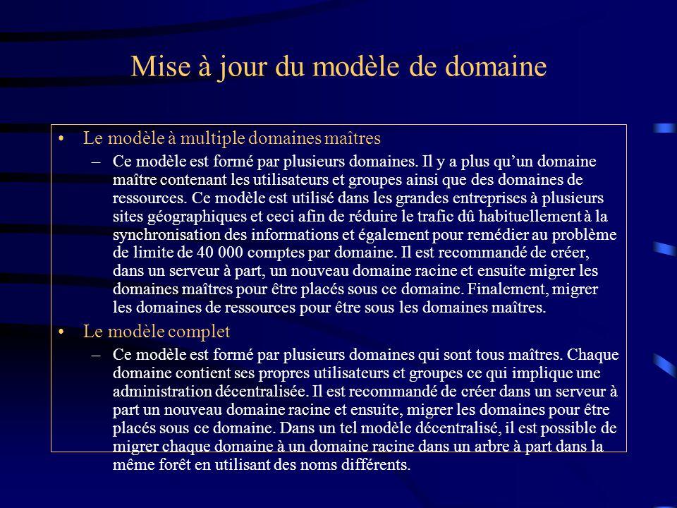 Mise à jour du modèle de domaine Le modèle à multiple domaines maîtres –Ce modèle est formé par plusieurs domaines. Il y a plus qu'un domaine maître c