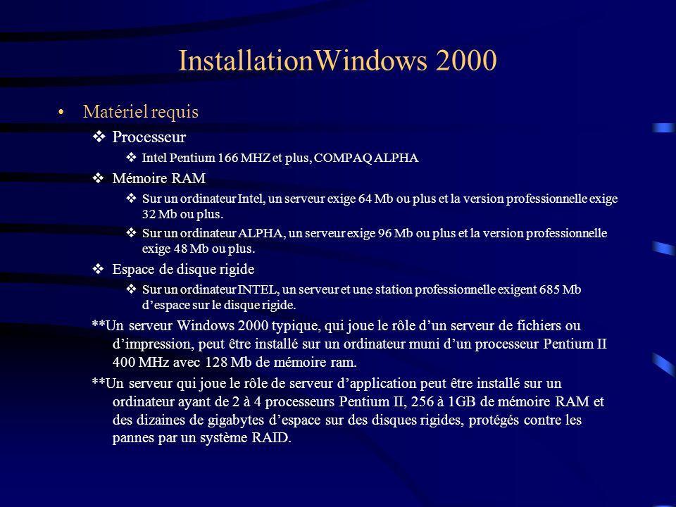 InstallationWindows 2000 Matériel requis  Processeur  Intel Pentium 166 MHZ et plus, COMPAQ ALPHA  Mémoire RAM  Sur un ordinateur Intel, un serveu