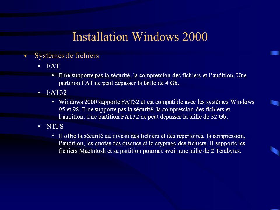 Installation Windows 2000 Systèmes de fichiers FAT Il ne supporte pas la sécurité, la compression des fichiers et l'audition. Une partition FAT ne peu