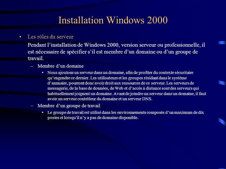 Installation Windows 2000 Les rôles du serveur Pendant l'installation de Windows 2000, version serveur ou professionnelle, il est nécessaire de spécif