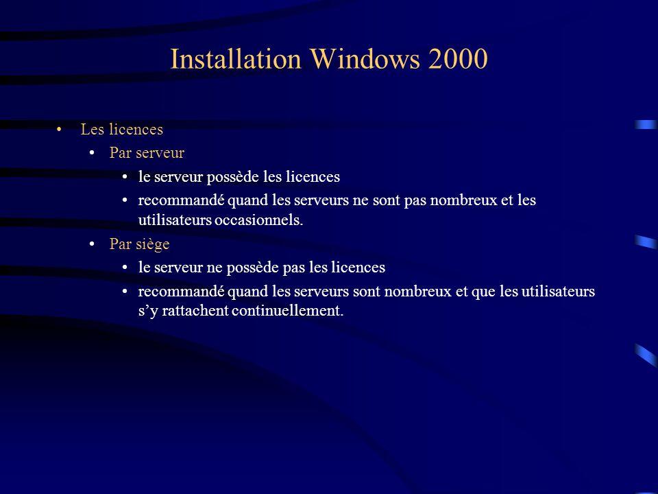 Installation Windows 2000 Les licences Par serveur le serveur possède les licences recommandé quand les serveurs ne sont pas nombreux et les utilisate