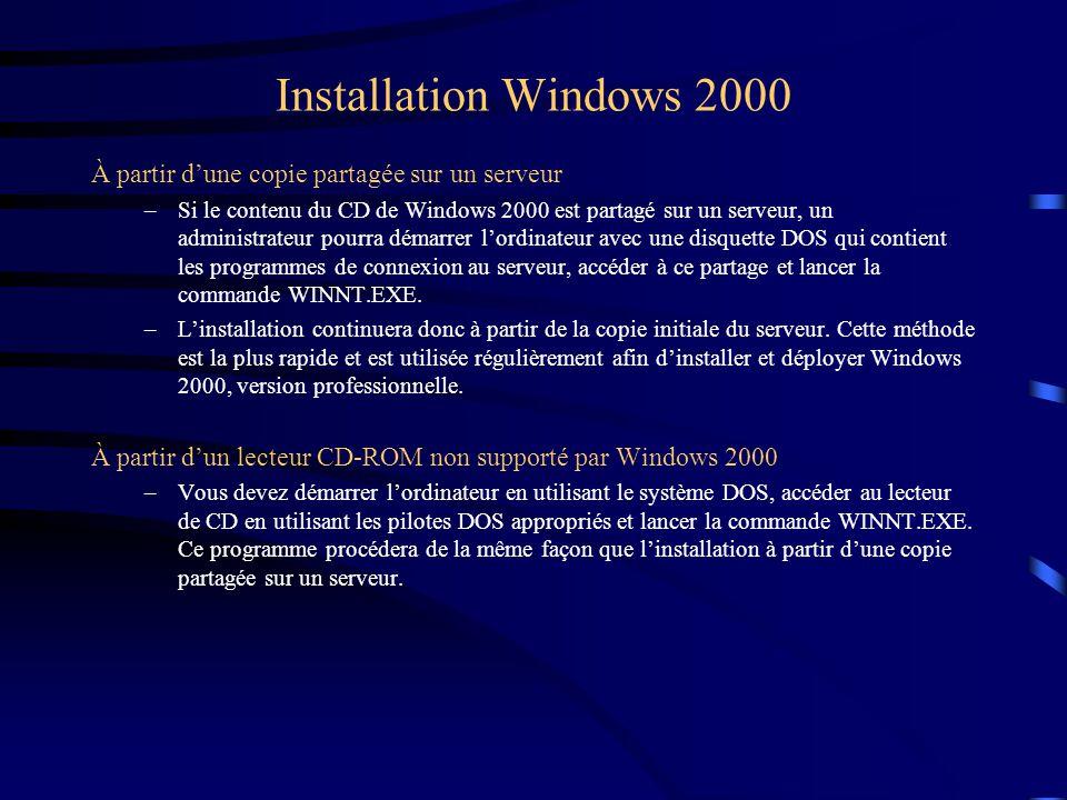 Installation Windows 2000 À partir d'une copie partagée sur un serveur –Si le contenu du CD de Windows 2000 est partagé sur un serveur, un administrat