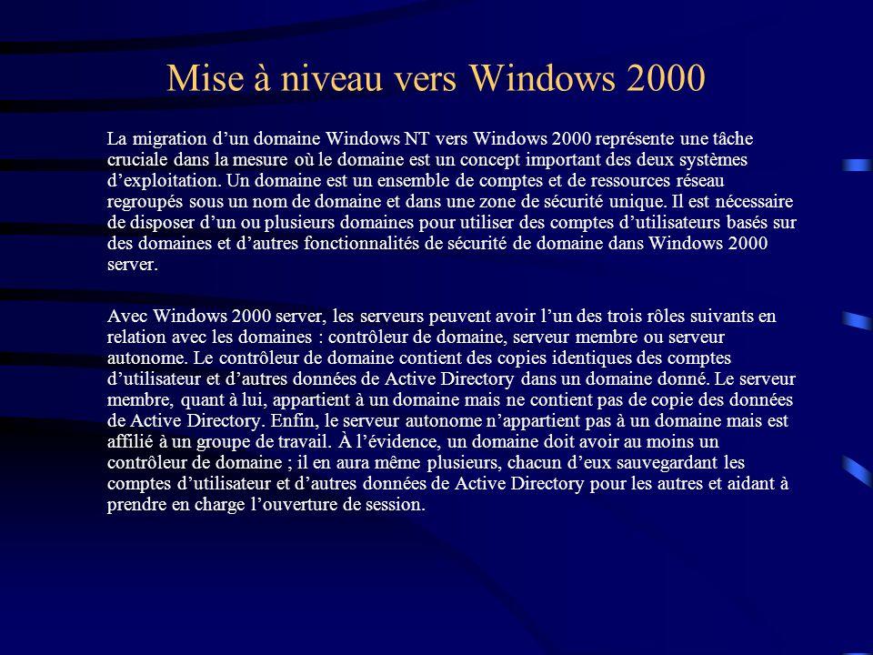 Mise à niveau vers Windows 2000 La migration d'un domaine Windows NT vers Windows 2000 représente une tâche cruciale dans la mesure où le domaine est