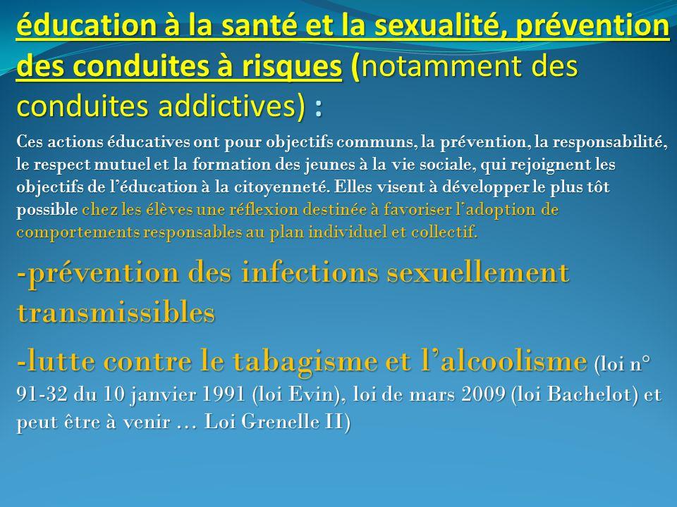 éducation à la santé et la sexualité, prévention des conduites à risques (notamment des conduites addictives) : Ces actions éducatives ont pour object