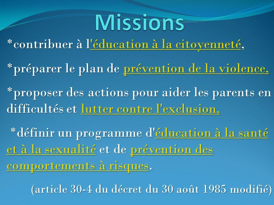 *contribuer à l'éducation à la citoyenneté, 'éducation à la citoyenneté'éducation à la citoyenneté *préparer le plan de prévention de la violence, pré