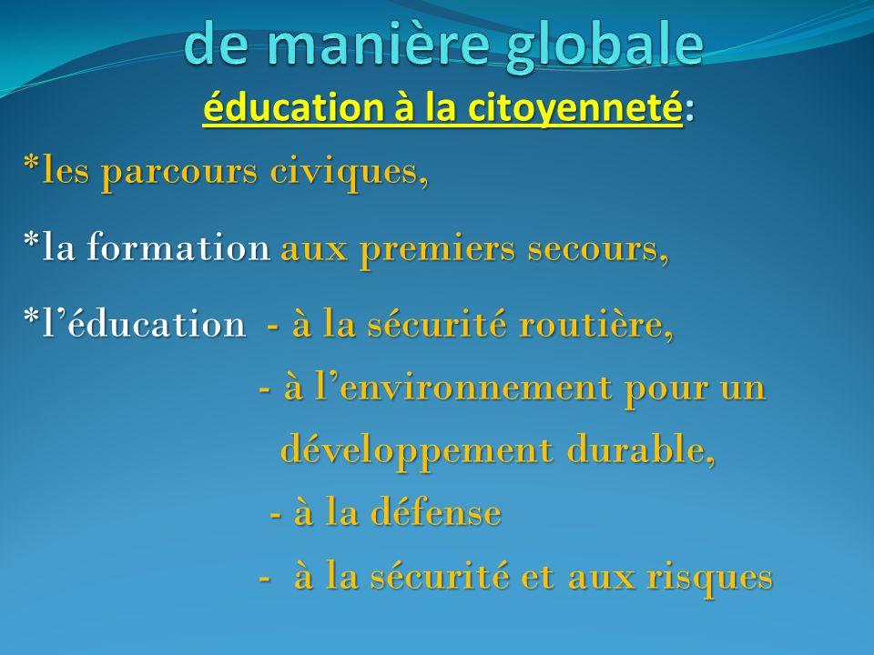 éducation à la citoyenneté: éducation à la citoyenneté: *les parcours civiques, *la formation aux premiers secours, *l'éducation - à la sécurité routi